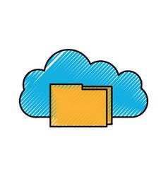 cloud folder file document information digital app vector image