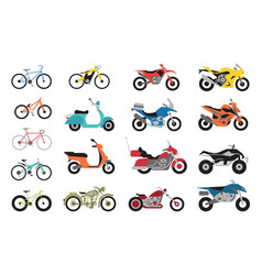 collection of motorcycles and bicycles icons moto vector image