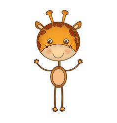 Colorful picture cartoon cute giraffe animal vector