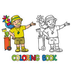 Coloring book funny zoo keeper with parrot vector
