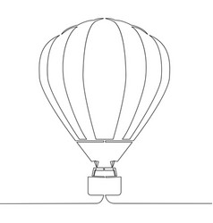 continuous line drawing hot air balloon vector image