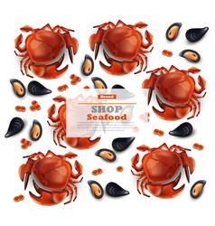 Crab and mussels realistic pattern vector