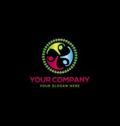 creative colorful three people logo design vector image