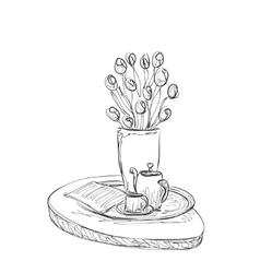 Cup of the tea sketch Romantic breakfast vector image