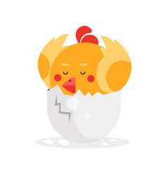 Cute newborn yellow bird character funny nestling vector