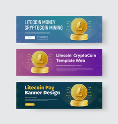 Design of horizontal web banners with gold coin vector