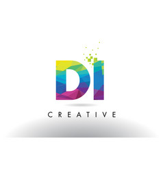 di d i colorful letter origami triangles design vector image