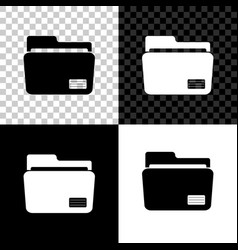 document folder icon isolated on black white and vector image
