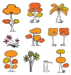 Doodle of orange tree set vector