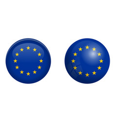 european union flag under 3d dome button and on vector image
