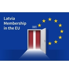 European Union flag wall with Latvia flag door EU vector