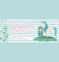 Fairy with unicorn invitation card vector
