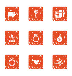 Festival gift icons set grunge style vector