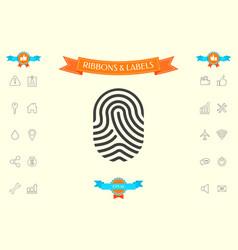 fingerprint scanned finger icon vector image
