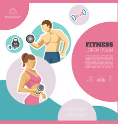 flat fitness colorful concept vector image