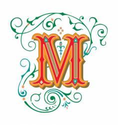 floral letter m vector image