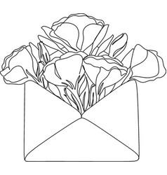 flowers in envelope minimalist print newborn line vector image