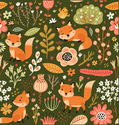 forest seamless pattern with foxes and flowers vector image