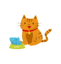 Funny cat sitting next to a bowl of fish cute vector