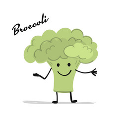 funny smiling brocolli character for your design vector image