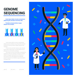 Genome sequencing concept small scientists and vector
