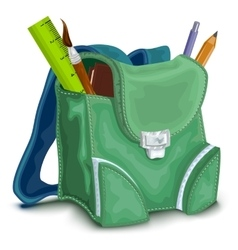 Green backpack with school supplies vector image