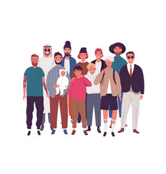 group happy diverse man teenager and boy vector image