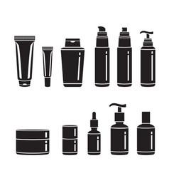 Hair cosmetics packaging set monochrome vector