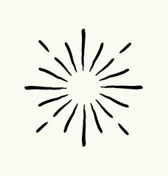 Hand drawn geometric radial line sunburst vector