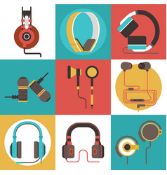 headphone seamless pattern headset listening vector image