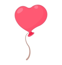 Heart shaped pink balloon icon cartoon style vector image
