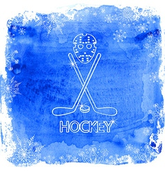 Ice hockey accessories on a watercolor background vector image