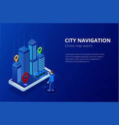 isometric gps satellite navigation web banner vector image