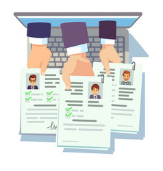 Job competition candidates hold cv resume online vector