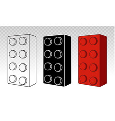 Lego brick block or piece line art icon for toy vector