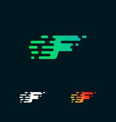 letter f modern speed shapes logo design vector image