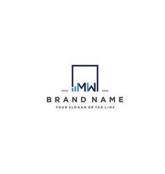 Letter mw square logo finance design vector
