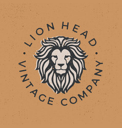 lion head vintage logo icon vector image