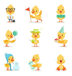 little yellow duck chick different emotions and vector image