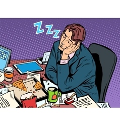 Man businessman sleeping on the job vector image