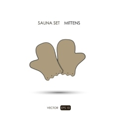 Mittens Sauna accessories on a white background vector