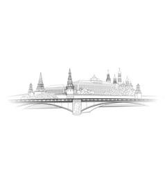Moscow kremlin view sketch city buildings vector