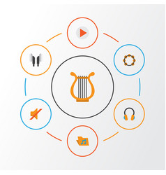 Music flat icons set collection of sonata button vector