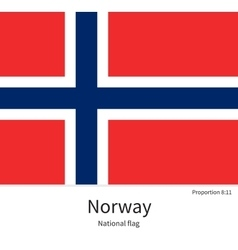 national flag norway with correct proportions vector image