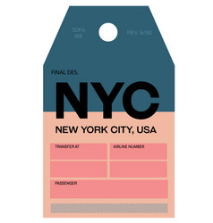 New york city airport luggage tag vector