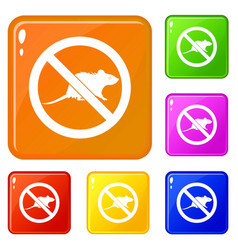 No rats sign icons set color vector