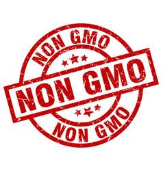 Non gmo round red grunge stamp vector