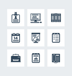 Office icons set over white vector