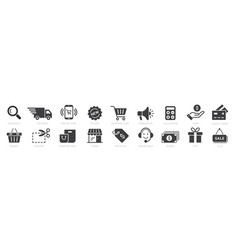 online shopping icons set payment elements vector image