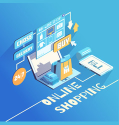 Online shopping isometric composition vector